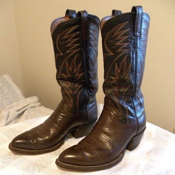 e68de16dcf4f0 Brahma Cowboy Western Boots Men 9 Brown Mexico